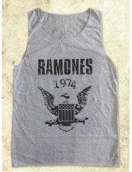 ramones-tshirt-rock-tshirt-women-tshirt-women-tank-top-tunic-sleeveless-gray-tank-top-size-s-m-l by chictee