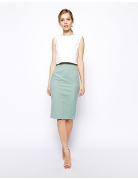 asos-pencil-dress-in-colour-block-with-shell-top by asos-collection