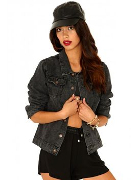 laverna-acid-wash-boyfriend-denim-jacket-in-black by missguided