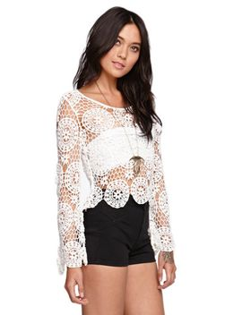 long-sleeve-crochet-top by kendall-&-kylie