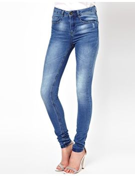 asos-ridley-high-waist-ultra-skinny-jeans-in-light-wash-blue by asos-collection