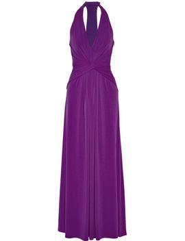 twist-front-stretch-jersey-halterneck-gown by halston-heritage