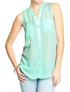 womens-sleeveless-button-front-tops by old-navy