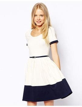 asos-skater-dress-with-contrast-band by asos-collection
