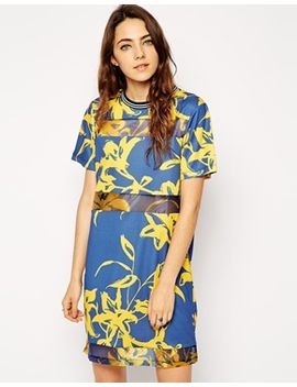 asos-t-shirt-dress-with-floral-print-panel by asos-collection