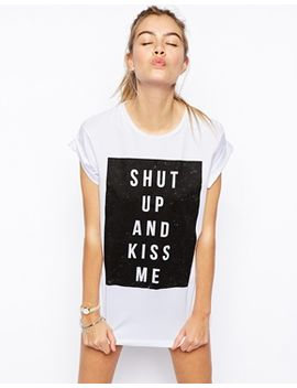 asos-boyfriend-t-shirt-with-shut-up-and-kiss-me-print by asos-collection