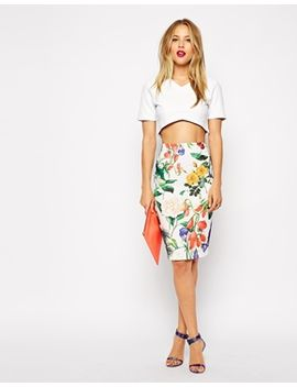 asos-pencil-skirt-in-textured-botanical-floral-print by asos-collection