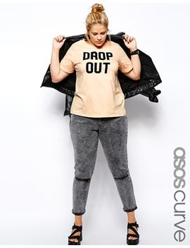 asos-curve-exclusive-t-shirt-with-drop-out-print by asos-curve