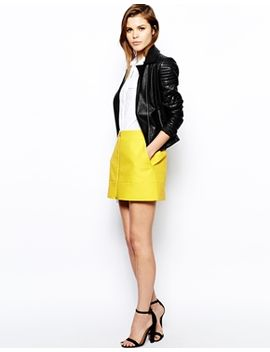 karen-millen-textured-mini-skirt-with-zip-detail by karen-millen