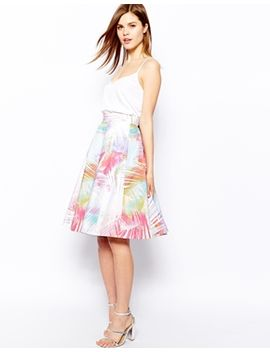 karen-millen-full-skirt-in-palm-print by karen-millen
