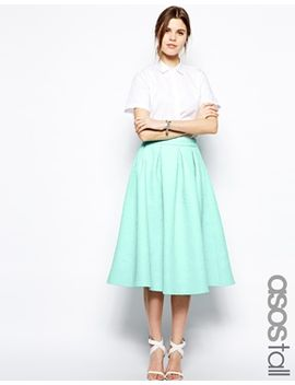 asos-tall-premium-prom-midi-skirt-in-bonded-crepe by asos-tall