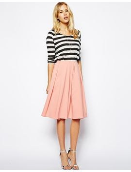 asos-midi-skirt-in-ponte-with-bold-pleats by asos-collection