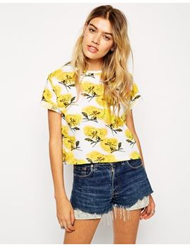 asos-crop-top-in-yellow-floral-print by asos-collection