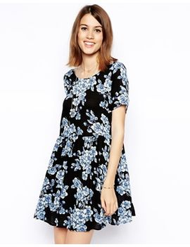 asos-smock-dress-in-blue-floral-print by asos-collection
