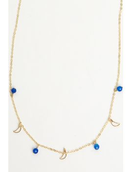 blue-beads-and-open-moon-necklace by brandy-melville