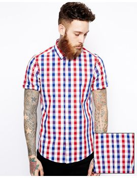 asos-smart-shirt-in-short-sleeve-with-large-gingham-check by asos