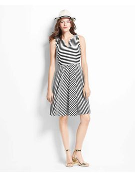 striped-split-neck-skirt-dress by ann-taylor