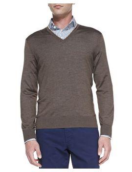 cashmere-silk-v-neck-sweater,-mushroom-fog by ermenegildo-zegna