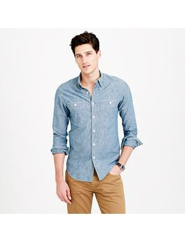 slim-selvedge-japanese-chambray-utility-shirt by jcrew