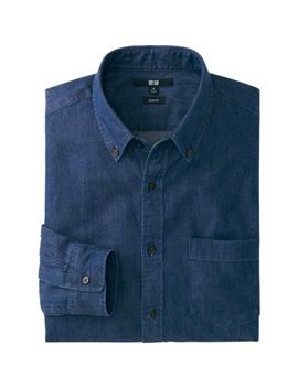 men-denim-slim-fit-long-sleeve-shirt by uniqlo
