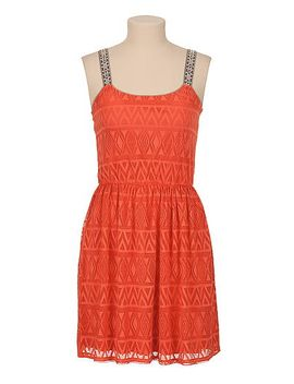 patterned-lace-dress-with-embroidered-straps by maurices