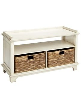 antique-white-storage-bench-with-baskets by holtom-collection