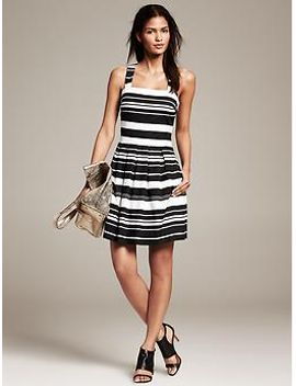 multi-stripe-pleated-fit-and-flare-dress by banana-repbulic