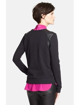 faux-leather-shoulder-trim-sweatshirt by vince