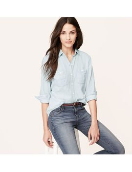 seamed-chambray-softened-shirt by loft