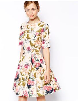 asos-textured-skater-dress-in-summer-floral-and-bird-print by asos-collection
