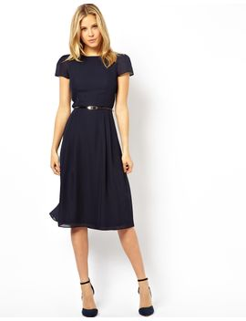 asos-simple-midi-skater-dress-with-belt by asos-collection