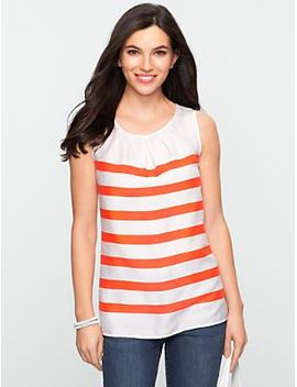 striped-pleated-neckline-top by talbots