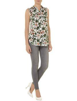 botanical-floral-sleeveless-shirt by dorothy-perkins