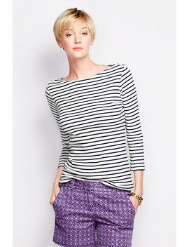 womens-3_4-sleeve-cotton-boatneck-top by lands-end