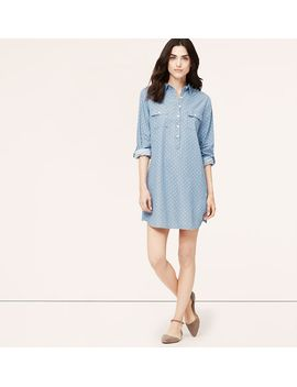 petite-polka-dot-chambray-shirtdress by loft