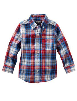 button-front-plaid-shirt by oshkosh