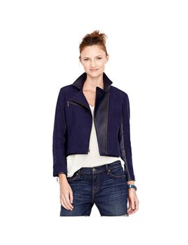 amber-mixed-moto-jacket   						sale by fossil
