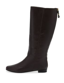 orlena-flat-studded-bow-zip-knee-boot,-chocolate by kate-spade