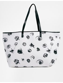 asos-scribble-print-shopper-bag-with-skinny-handles by asos-collection