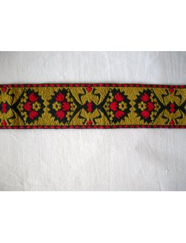 german-vintage-embroidered--red-mustard-and-black-cotton-trim-(1-yard)--sewing-supply-for-medieval-or-rustic-clothing by linenlaceandthread