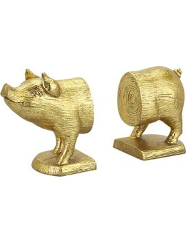 gold-pig-bookends-set-of-2 by crate&barrel