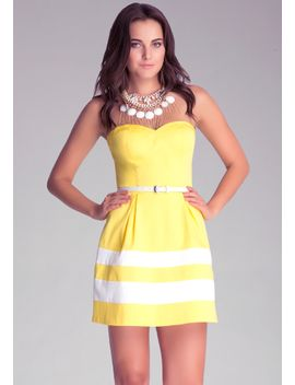 strapless-colorblock-dress by bebe