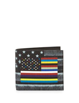 flag-print-leather-bi-fold-wallet by givenchy