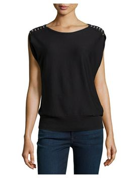 cap-sleeve-chain-shoulder-knit-tee,-black by michael-michael-kors