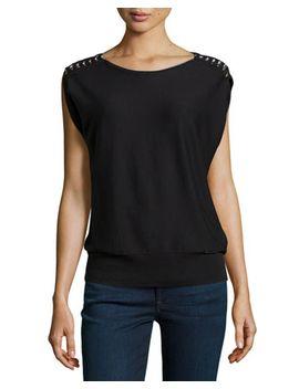 cap-sleeve-chain-shoulder-knit-tee,-black by michael-michael-kors