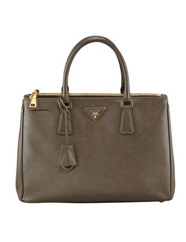 saffiano-double-zip-executive-tote,-brown-(caramel) by prada