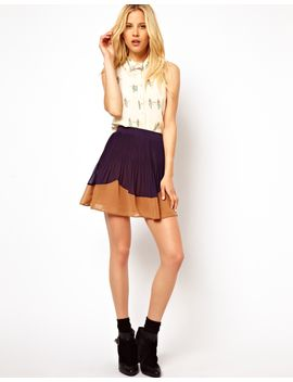 asos-pleated-skater-skirt-with-color-block-hem by asos-collection