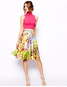 asos-midi-skirt-in-floral-printed-scuba by asos-collection