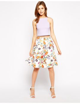 asos-circle-scuba-skirt-in-botanical-floral by asos-collection