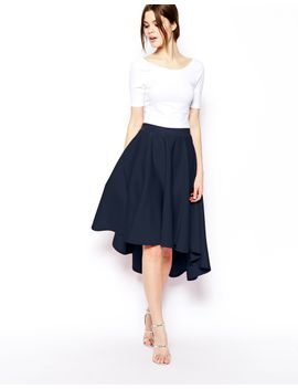 asos-midi-skirt-in-scuba-with-dipped-hem by asos-collection